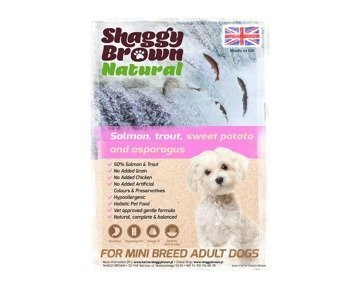 SHAGGY BROWN NATURAL - SMALL BREED Salmon, Trout, Sweet Potato & Asparagus - 2 kg