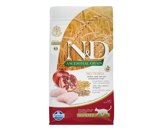 FARMINA ND Ancestral Grain Adult NEUTERED Cat Chicken & Pomegranate - 5kg
