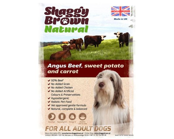 SHAGGY BROWN NATURAL - Angus Beef, Sweet Potato & Carrot - 12 kg