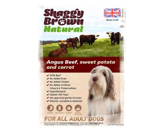 SHAGGY BROWN NATURAL - Angus Beef, Sweet Potato & Carrot - 6 kg