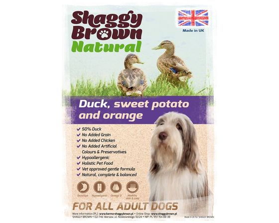 SHAGGY BROWN NATURAL - Duck, Sweet Potato & Orange  - 12 kg