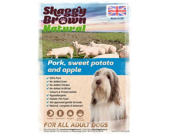 SHAGGY BROWN NATURAL - Pork, Sweet Potato & Apple  - 12 kg
