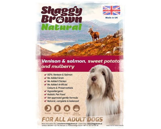 SHAGGY BROWN NATURAL - Venison & Salmon, Sweet Potato & Mulberry - 12 kg