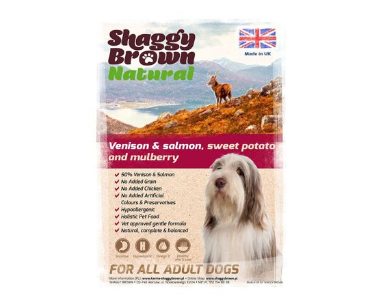 SHAGGY BROWN NATURAL - Venison & Salmon, Sweet Potato & Mulberry  - 2 kg