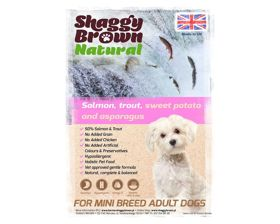SHAGGY BROWN NATURAL - SMALL BREED Salmon, Trout, Sweet Potato & Asparagus - 6 kg